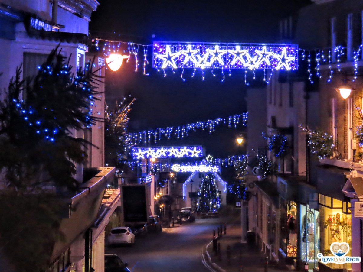 Christmas lights in Broad Street Lyme Regis