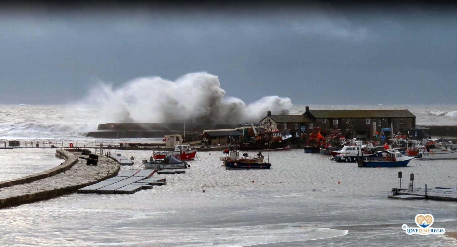 Huge waves during storm at Cobb Lyme Regis