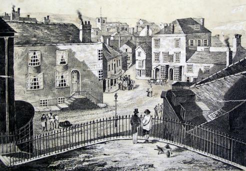 Cobb Gate from Bell Cliff in 1844 - Assembly rooms on the right, the old Three Cups hotels to the left