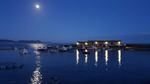 Bright moon illuminating the harbour