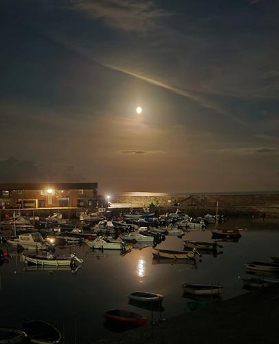 Moonrise over the harbour