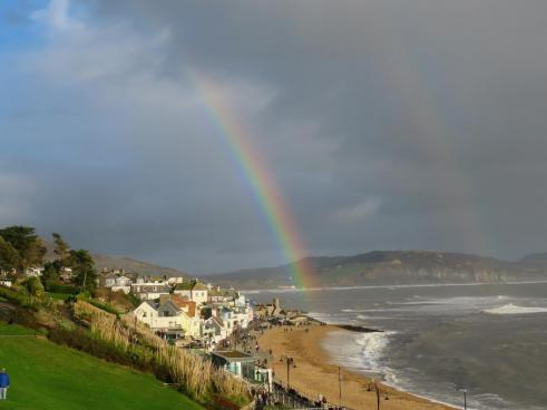 Double rainbow over the pebble beach