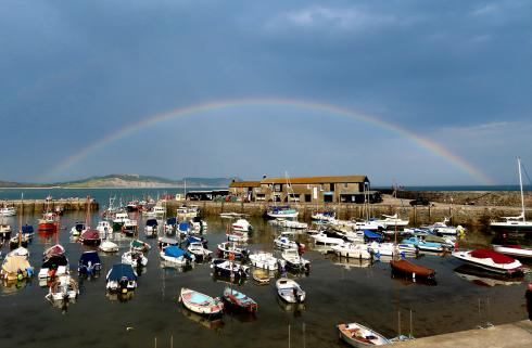Rainbow over Lyme Regis harbour